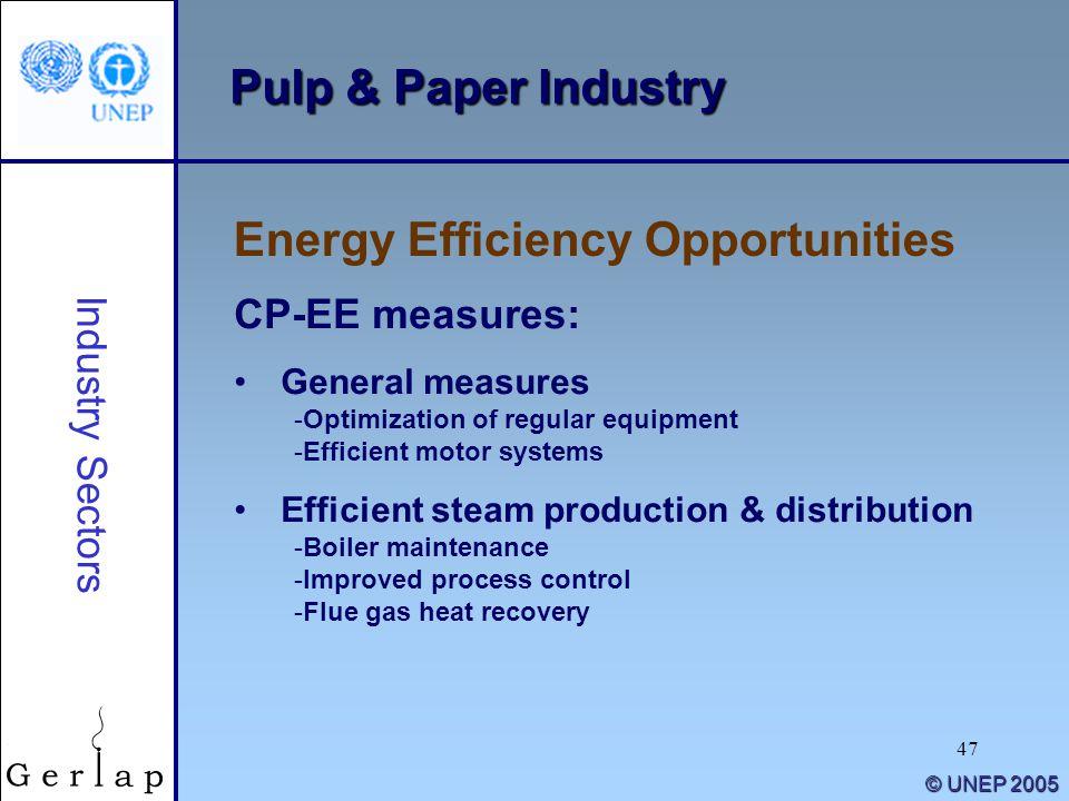 47 © UNEP 2005 Pulp & Paper Industry Energy Efficiency Opportunities Industry Sectors CP-EE measures: General measures -Optimization of regular equipm