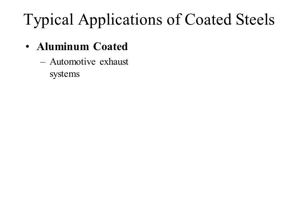 Typical Applications of Coated Steels Aluminum Coated –Automotive exhaust systems