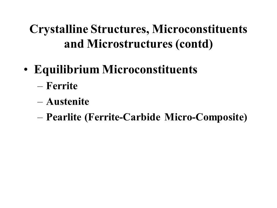 Crystalline Structures, Microconstituents and Microstructures (contd) Equilibrium Microconstituents –Ferrite –Austenite –Pearlite (Ferrite-Carbide Mic