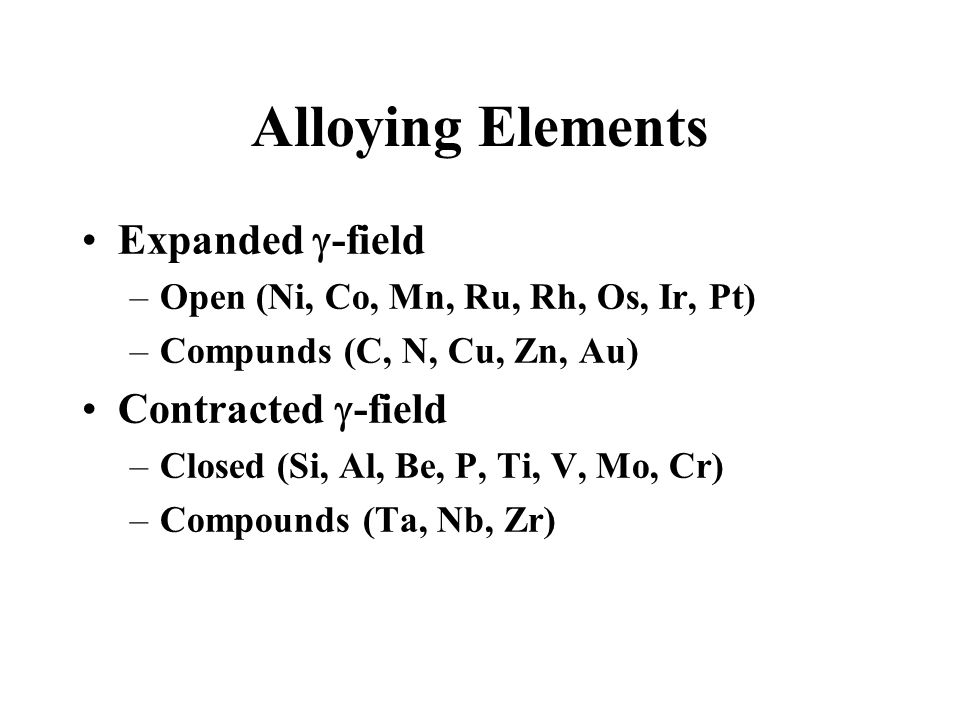 Alloying Elements Expanded -field –Open (Ni, Co, Mn, Ru, Rh, Os, Ir, Pt) –Compunds (C, N, Cu, Zn, Au) Contracted -field –Closed (Si, Al, Be, P, Ti, V,