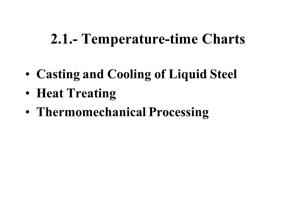 2.1.- Temperature-time Charts Casting and Cooling of Liquid Steel Heat Treating Thermomechanical Processing