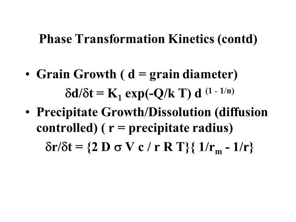 Phase Transformation Kinetics (contd) Grain Growth ( d = grain diameter) d/ t = K 1 exp(-Q/k T) d (1 - 1/n) Precipitate Growth/Dissolution (diffusion
