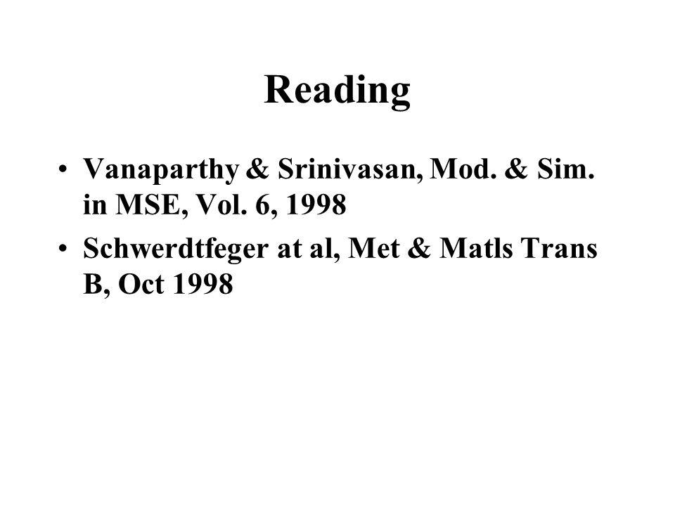 Reading Vanaparthy & Srinivasan, Mod. & Sim. in MSE, Vol. 6, 1998 Schwerdtfeger at al, Met & Matls Trans B, Oct 1998