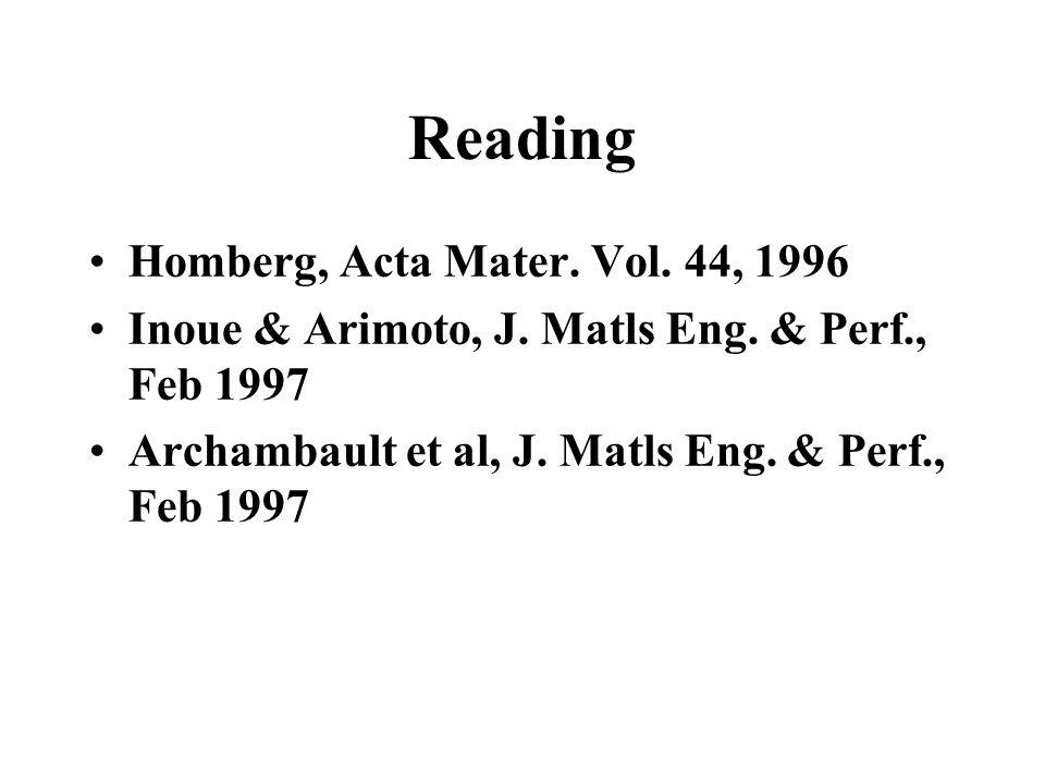 Reading Homberg, Acta Mater. Vol. 44, 1996 Inoue & Arimoto, J. Matls Eng. & Perf., Feb 1997 Archambault et al, J. Matls Eng. & Perf., Feb 1997