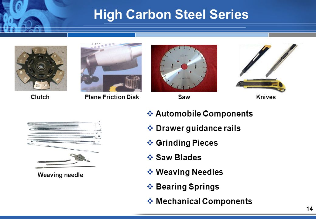 14 Automobile Components Drawer guidance rails Grinding Pieces Saw Blades Weaving Needles Bearing Springs Mechanical Components Clutch Saw Weaving needle Plane Friction DiskKnives High Carbon Steel Series