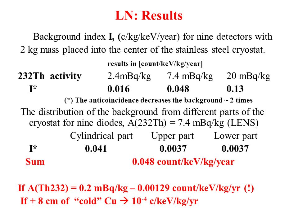 LN: Results Background index I, (c/kg/keV/year) for nine detectors with 2 kg mass placed into the center of the stainless steel cryostat.