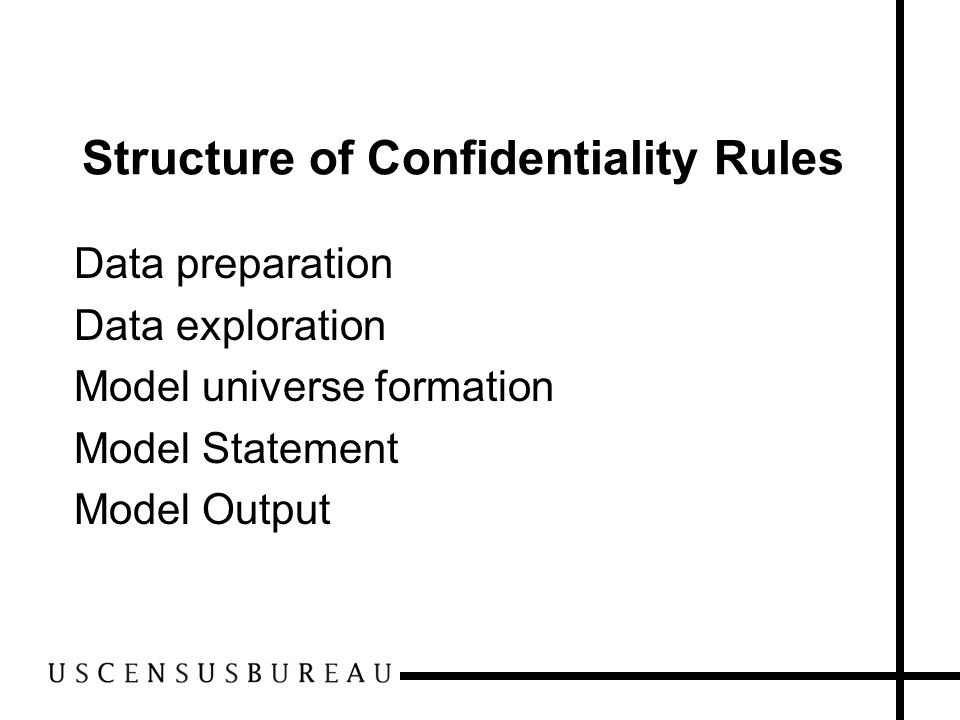 Structure of Confidentiality Rules Data preparation Data exploration Model universe formation Model Statement Model Output