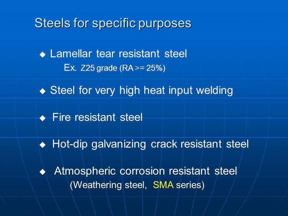 Steels for specific purposes Lamellar tear resistant steel Ex. Z25 grade (RA >= 25%) Steel for very high heat input welding Fire resistant steel Hot-d