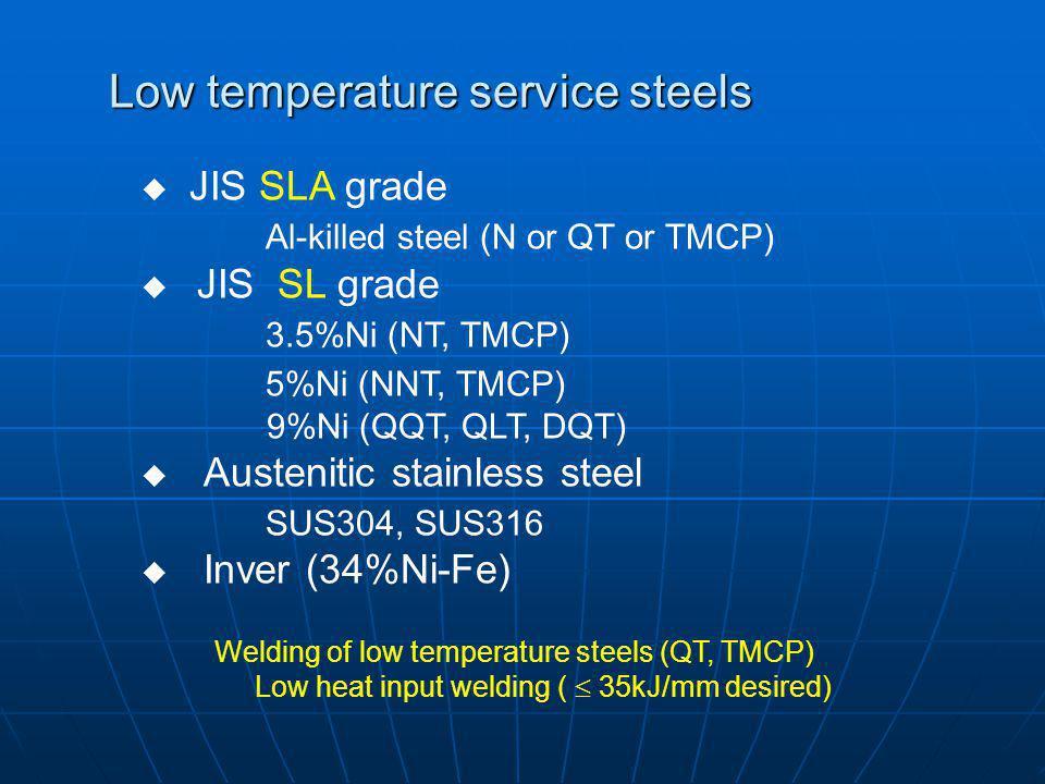 Low temperature service steels JIS SLA grade Al-killed steel (N or QT or TMCP) JIS SL grade 3.5%Ni (NT, TMCP) 5%Ni (NNT, TMCP) 9%Ni (QQT, QLT, DQT) Au