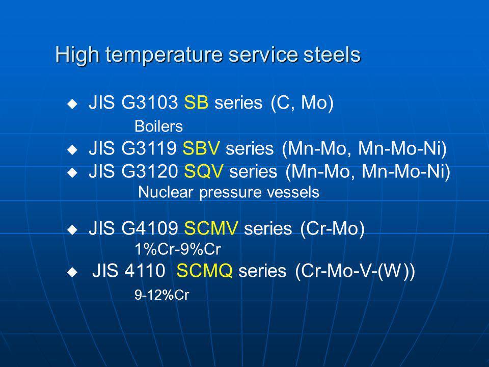 High temperature service steels JIS G3103 SB series (C, Mo) Boilers JIS G3119 SBV series (Mn-Mo, Mn-Mo-Ni) JIS G3120 SQV series (Mn-Mo, Mn-Mo-Ni) Nucl
