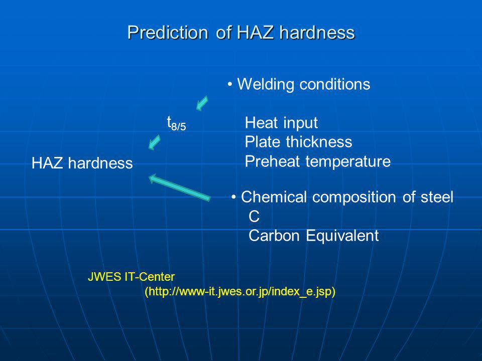 Prediction of HAZ hardness HAZ hardness Welding conditions Heat input Plate thickness Preheat temperature t 8/5 Chemical composition of steel C Carbon Equivalent JWES IT-Center (http://www-it.jwes.or.jp/index_e.jsp)