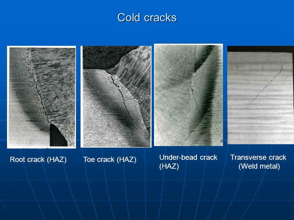 Cold cracks Root crack (HAZ)Toe crack (HAZ) Transverse crack (Weld metal) Under-bead crack (HAZ)