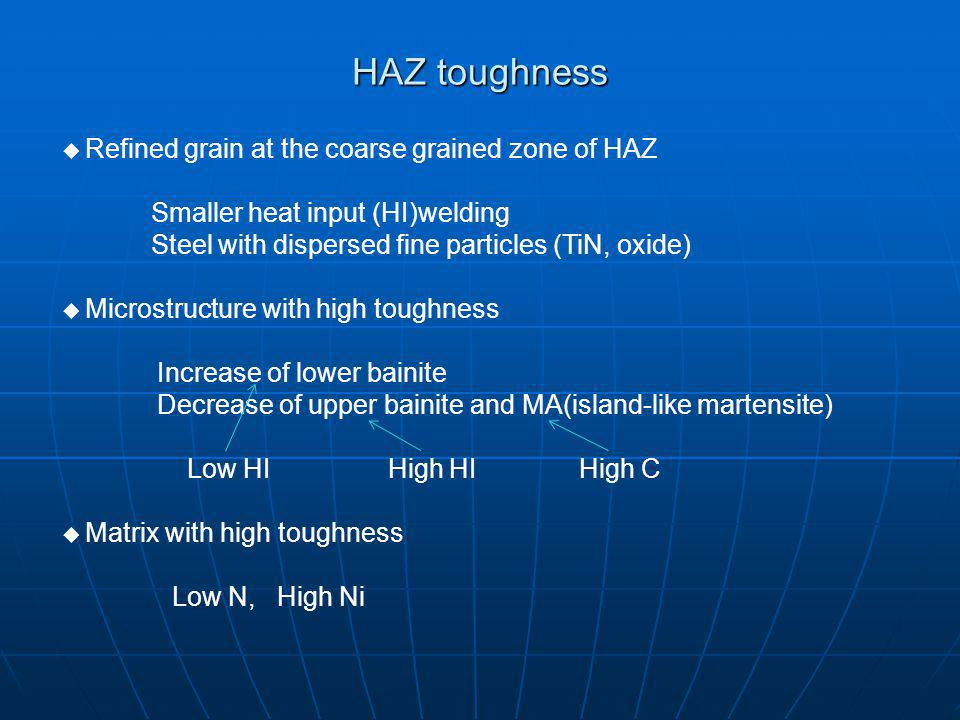 HAZ toughness Refined grain at the coarse grained zone of HAZ Smaller heat input (HI)welding Steel with dispersed fine particles (TiN, oxide) Microstructure with high toughness Increase of lower bainite Decrease of upper bainite and MA(island-like martensite) Low HI High HI High C Matrix with high toughness Low N, High Ni