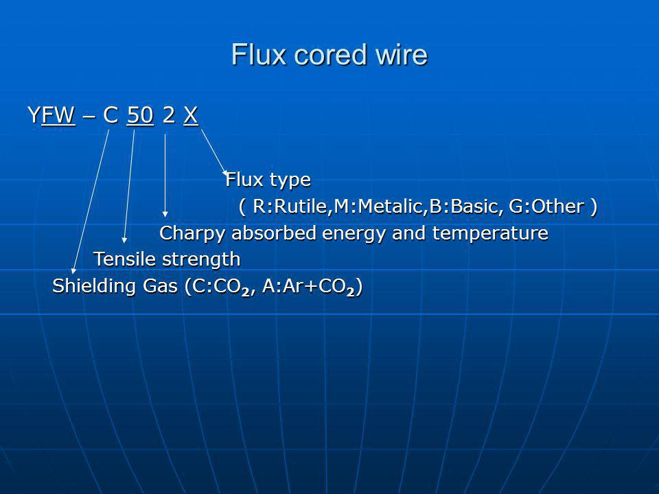 YFW – C 50 2 X Flux type ( R:Rutile,M:Metalic,B:Basic, G:Other ) ( R:Rutile,M:Metalic,B:Basic, G:Other ) Charpy absorbed energy and temperature Tensile strength Shielding Gas (C:CO 2, A:Ar+CO 2 ) Flux cored wire