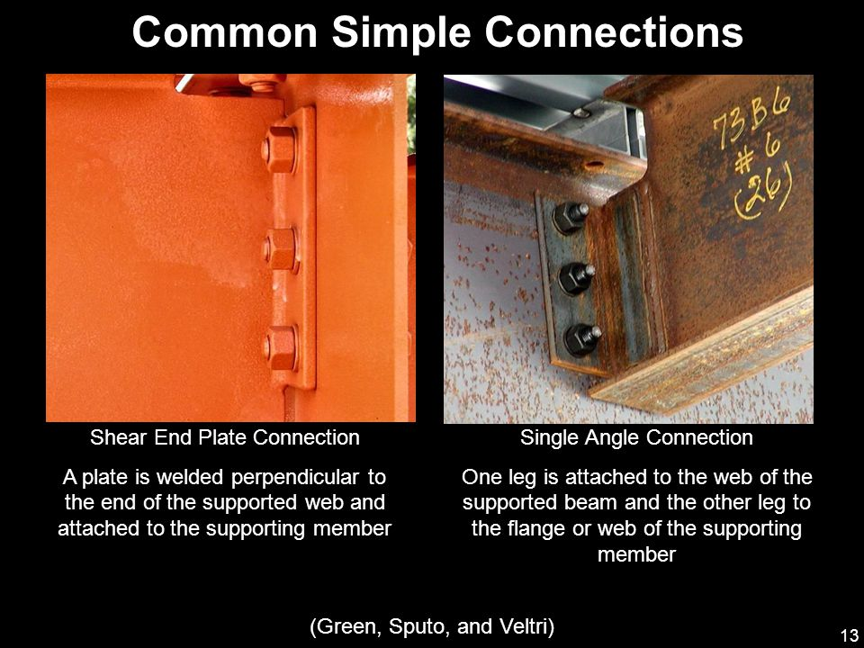 13 Common Simple Connections Shear End Plate Connection A plate is welded perpendicular to the end of the supported web and attached to the supporting