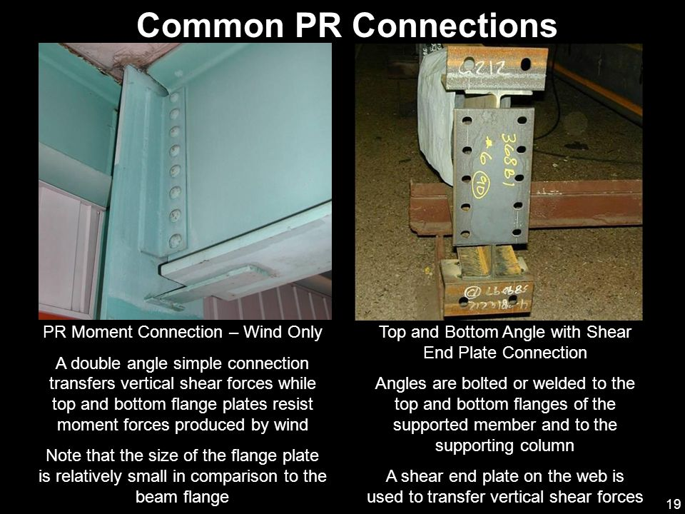 19 Common PR Connections PR Moment Connection – Wind Only A double angle simple connection transfers vertical shear forces while top and bottom flange