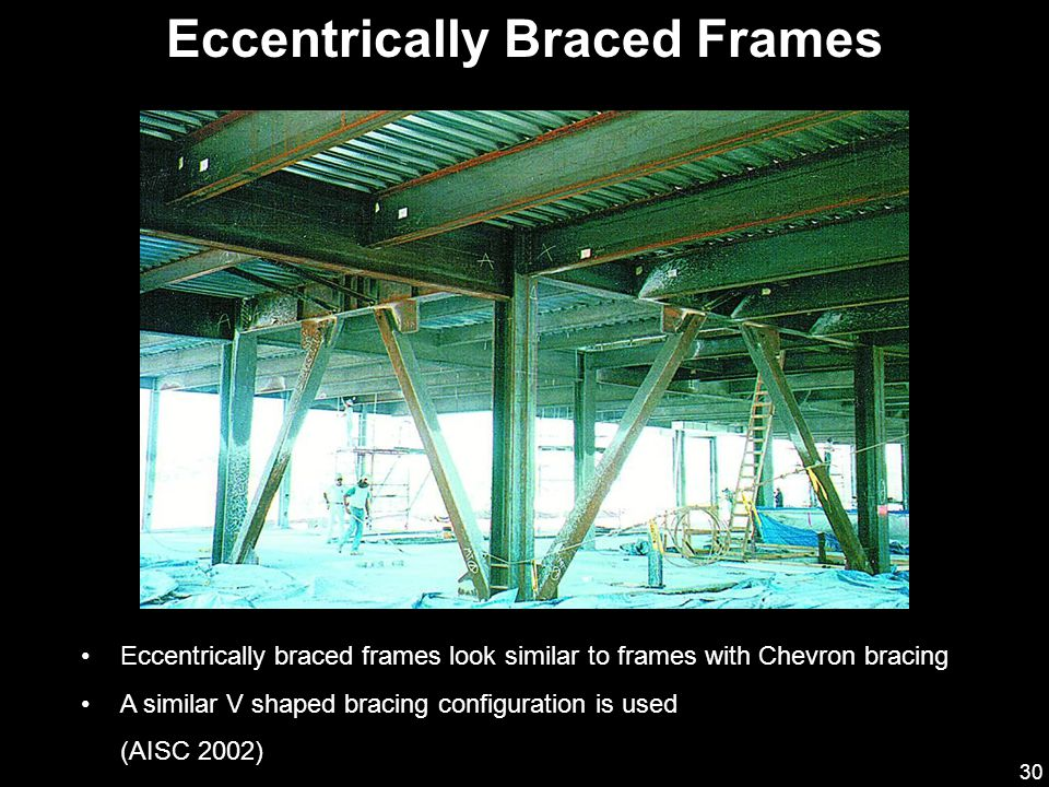 30 Eccentrically Braced Frames Eccentrically braced frames look similar to frames with Chevron bracing A similar V shaped bracing configuration is use