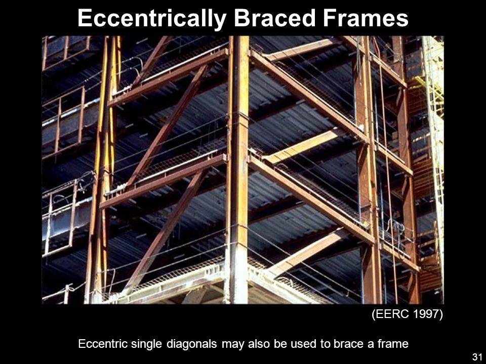 31 Eccentrically Braced Frames Eccentric single diagonals may also be used to brace a frame (EERC 1997)