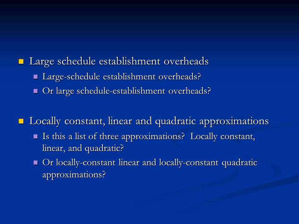 Large schedule establishment overheads Large schedule establishment overheads Large-schedule establishment overheads.