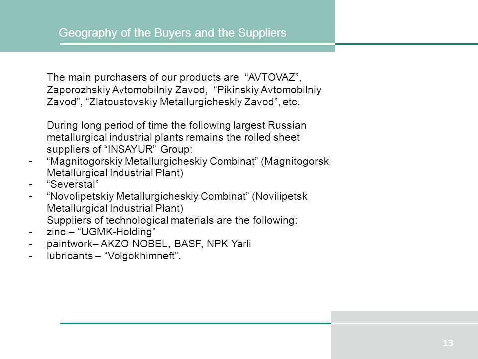 13 The main purchasers of our products are AVTOVAZ, Zaporozhskiy Avtomobilniy Zavod, Pikinskiy Avtomobilniy Zavod, Zlatoustovskiy Metallurgicheskiy Zavod, etc.