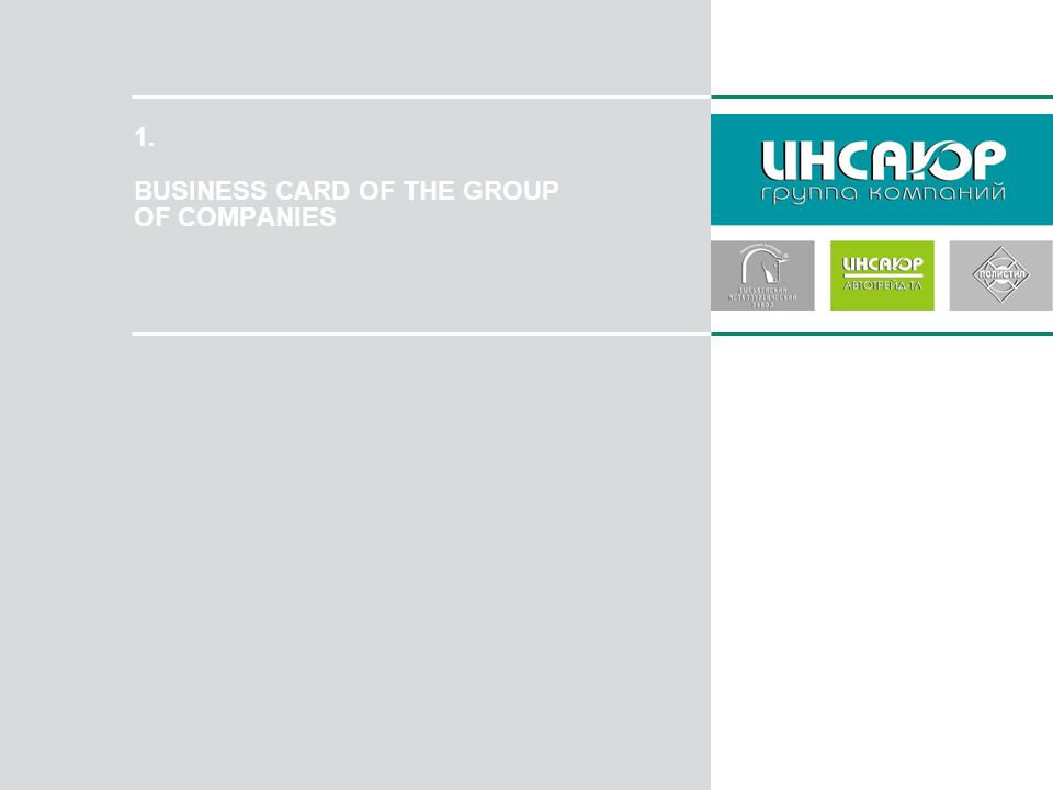 1. BUSINESS CARD OF THE GROUP OF COMPANIES