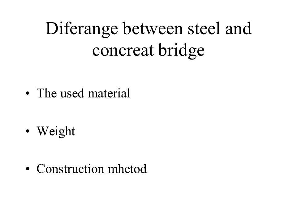 Diferange between steel and concreat bridge The used material Weight Construction mhetod
