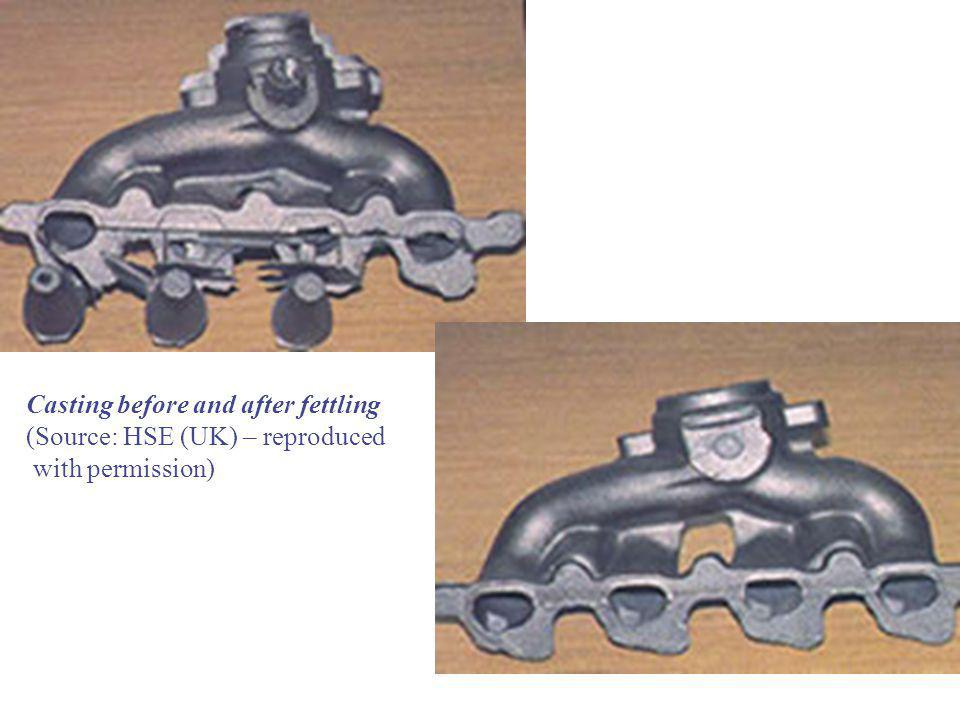 Casting before and after fettling (Source: HSE (UK) – reproduced with permission)