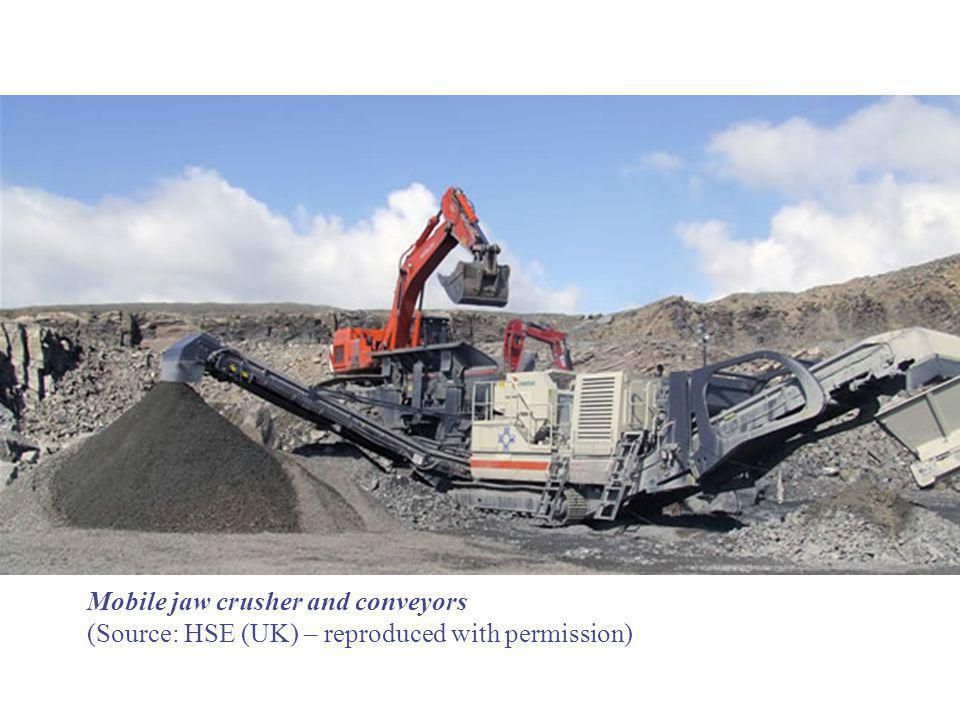 Mobile jaw crusher and conveyors (Source: HSE (UK) – reproduced with permission)