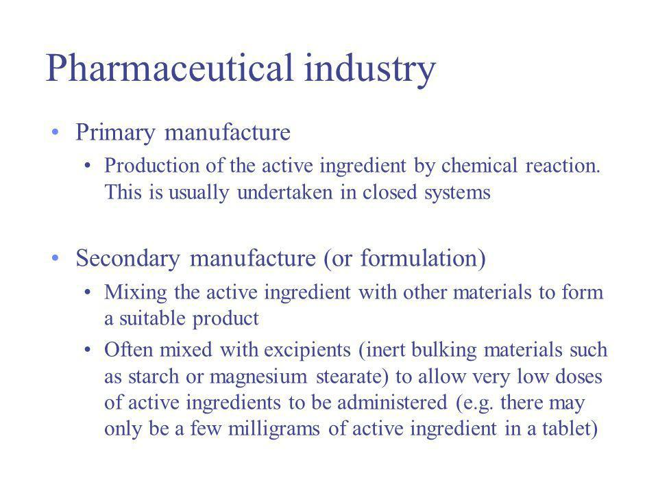 Pharmaceutical industry Primary manufacture Production of the active ingredient by chemical reaction.