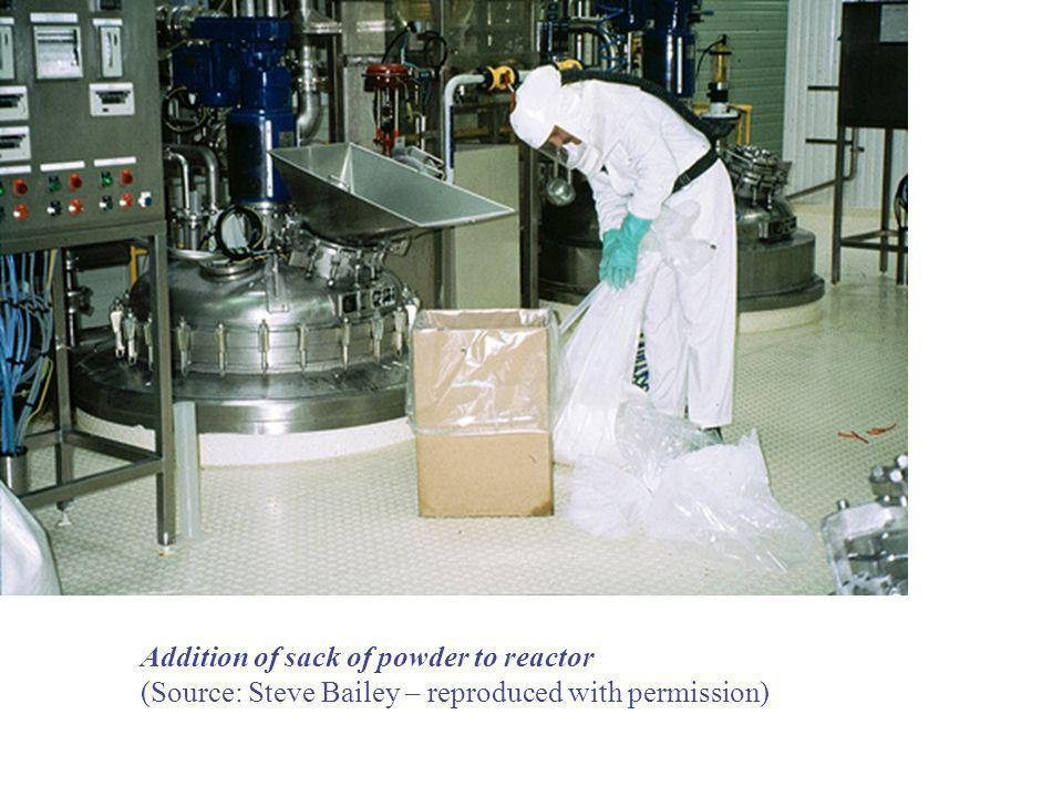 Addition of sack of powder to reactor (Source: Steve Bailey – reproduced with permission)