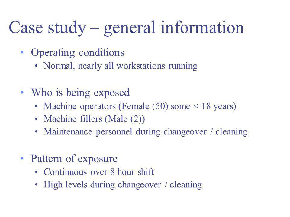 Case study – general information Operating conditions Normal, nearly all workstations running Who is being exposed Machine operators (Female (50) some < 18 years) Machine fillers (Male (2)) Maintenance personnel during changeover / cleaning Pattern of exposure Continuous over 8 hour shift High levels during changeover / cleaning