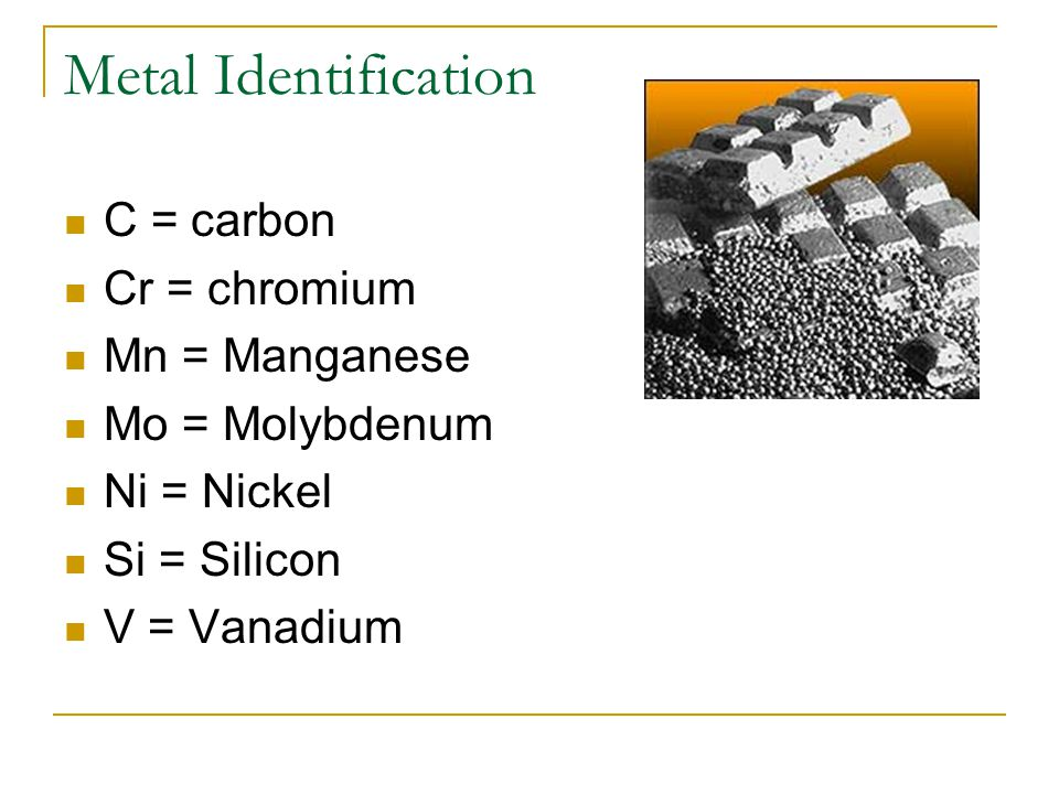C = carbon Cr = chromium Mn = Manganese Mo = Molybdenum Ni = Nickel Si = Silicon V = Vanadium