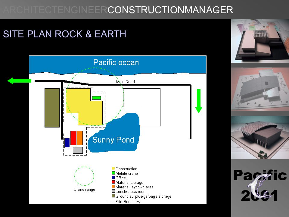 ARCHITECTENGINEERCONSTRUCTIONMANAGER Pacific 2001 SITE PLAN ROCK & EARTH