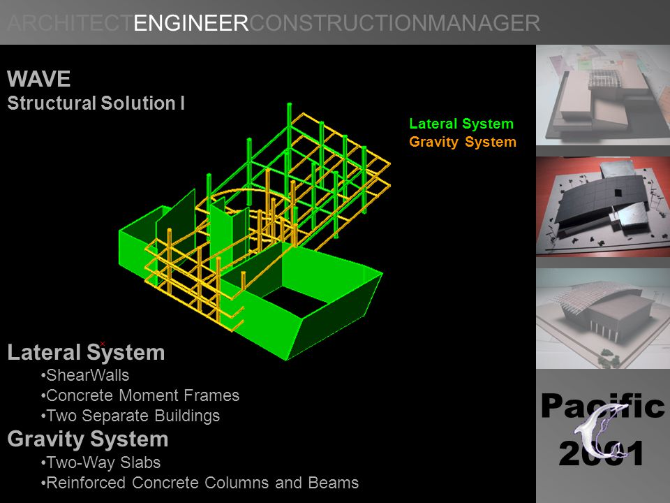 Pacific 2001 WAVE Structural Solution I Lateral System Gravity System Lateral System ShearWalls Concrete Moment Frames Two Separate Buildings Gravity System Two-Way Slabs Reinforced Concrete Columns and Beams
