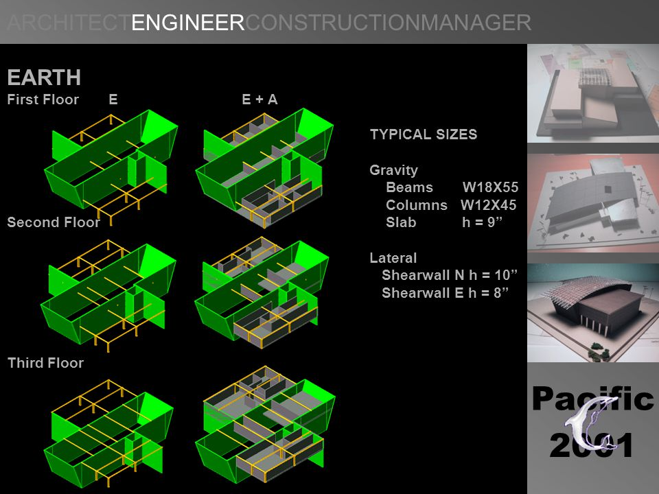 ARCHITECTENGINEERCONSTRUCTIONMANAGER b Pacific 2001 EARTH First Floor E E + A TYPICAL SIZES Gravity Beams W18X55 Columns W12X45 Second Floor Slab h = 9 Lateral Shearwall N h = 10 Shearwall E h = 8 Third Floor