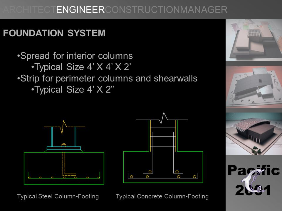 ARCHITECTENGINEERCONSTRUCTIONMANAGER Pacific 2001 FOUNDATION SYSTEM Spread for interior columns Typical Size 4 X 4 X 2 Strip for perimeter columns and shearwalls Typical Size 4 X 2 Typical Steel Column-FootingTypical Concrete Column-Footing