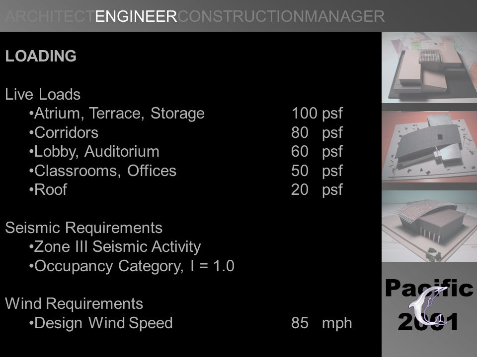 Pacific 2001 LOADING Live Loads Atrium, Terrace, Storage100 psf Corridors80 psf Lobby, Auditorium60 psf Classrooms, Offices50 psf Roof20 psf Seismic Requirements Zone III Seismic Activity Occupancy Category, I = 1.0 Wind Requirements Design Wind Speed85 mph