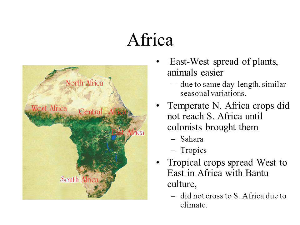 Africa East-West spread of plants, animals easier –due to same day-length, similar seasonal variations.