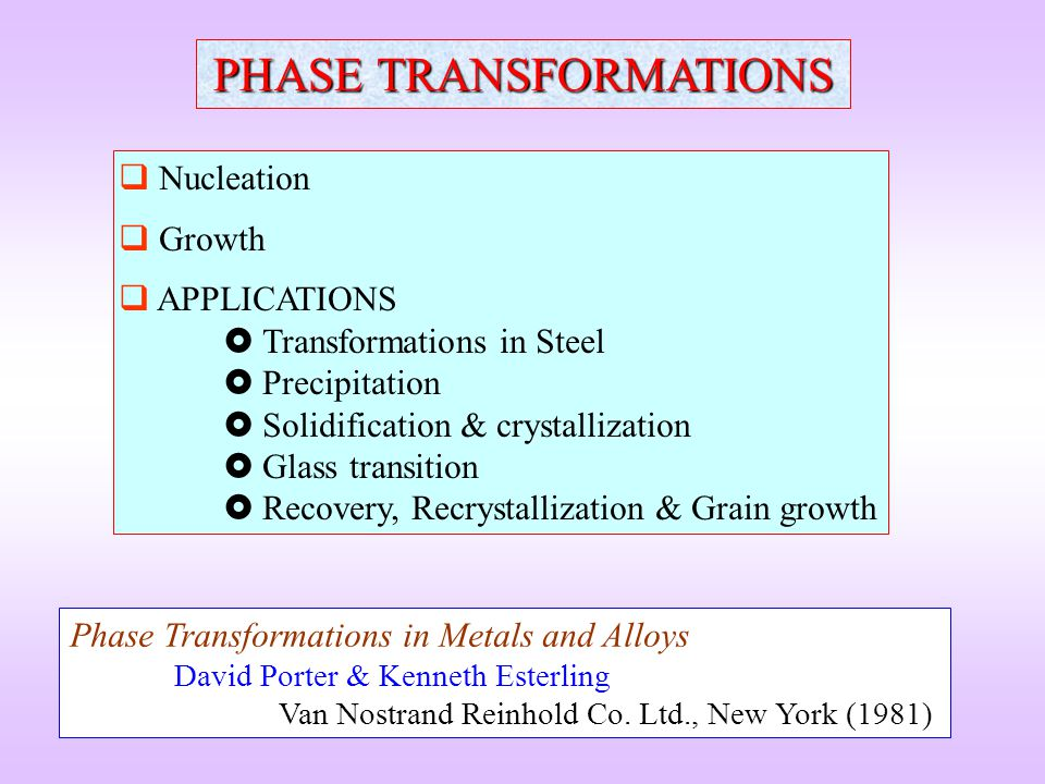 APPLICATIONS Phase Transformations in Steel Precipitation Solidification and crystallization Glass transition Recovery recrystallization & grain growth