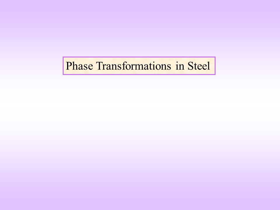 Phase Transformations in Steel