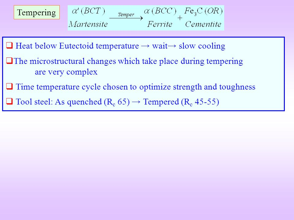 Tempering Heat below Eutectoid temperature wait slow cooling The microstructural changes which take place during tempering are very complex Time tempe