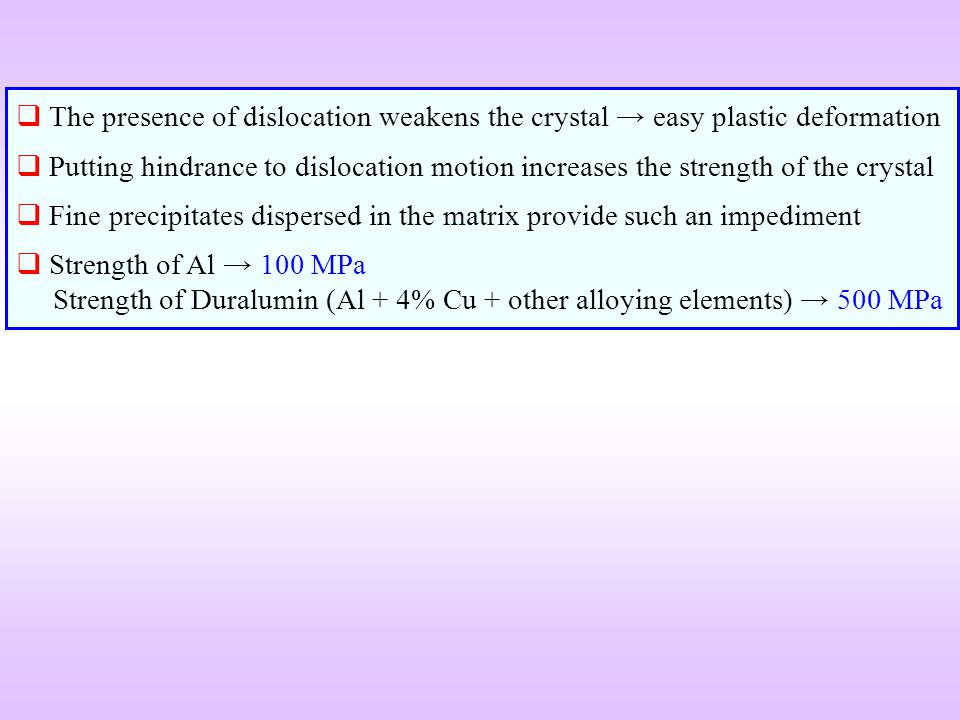 The presence of dislocation weakens the crystal easy plastic deformation Putting hindrance to dislocation motion increases the strength of the crystal