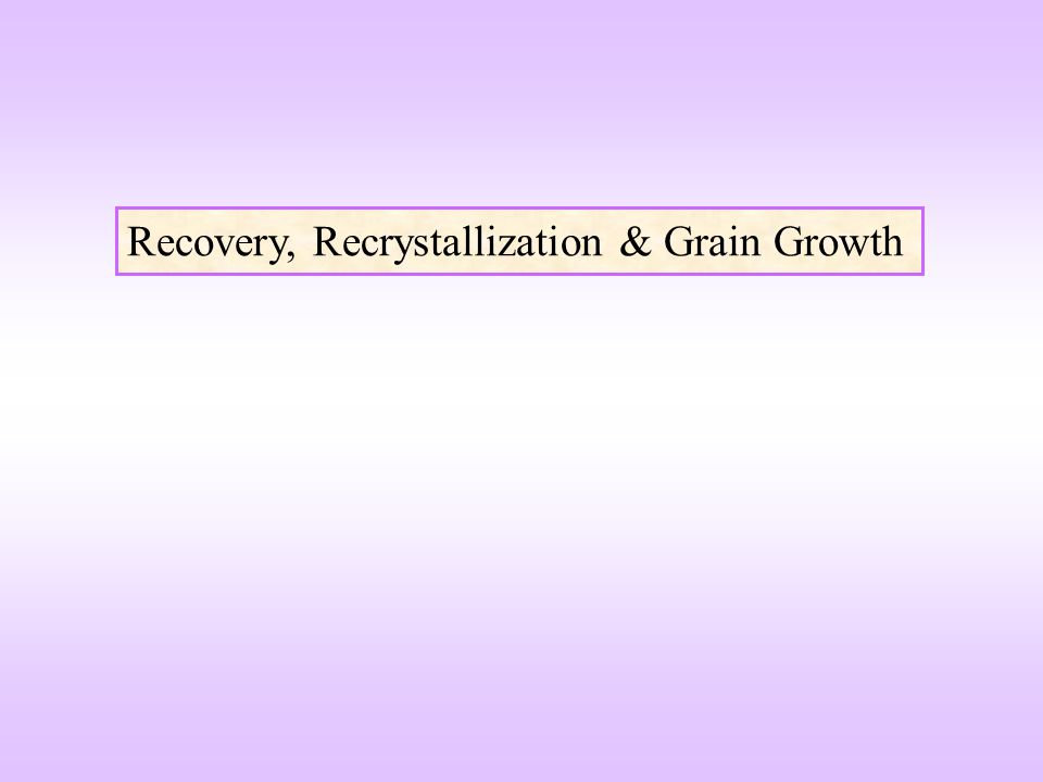 Recovery, Recrystallization & Grain Growth