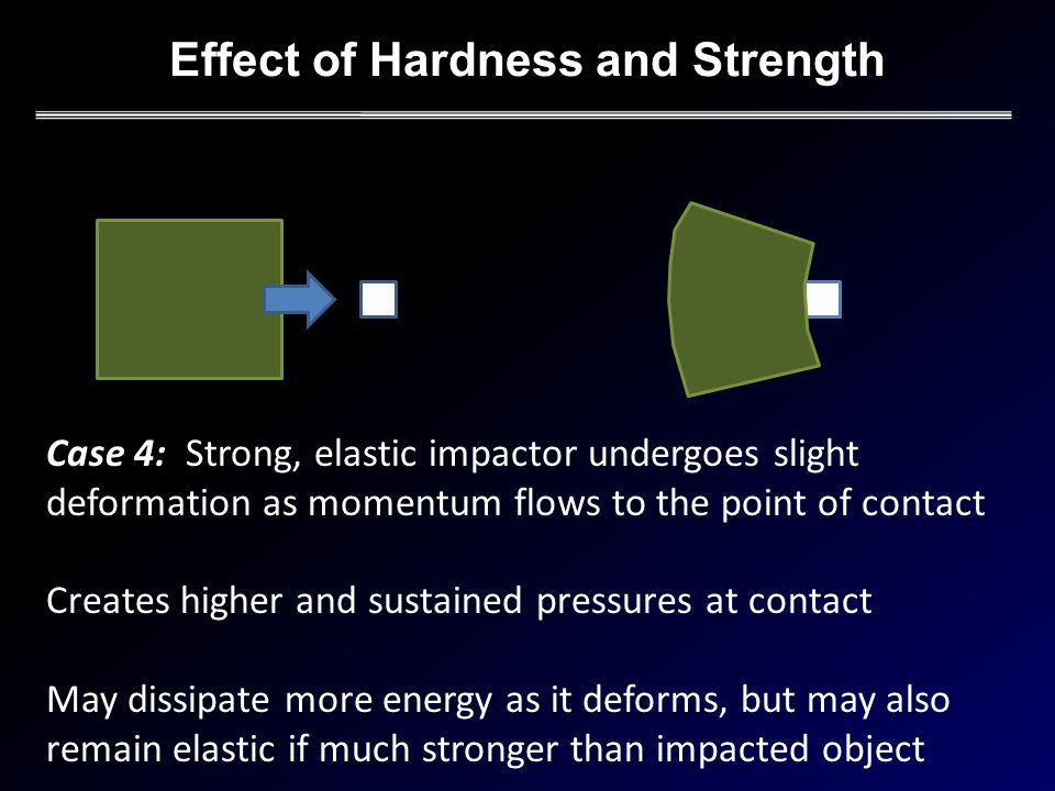 Effect of Hardness and Strength Case 4: Strong, elastic impactor undergoes slight deformation as momentum flows to the point of contact Creates higher and sustained pressures at contact May dissipate more energy as it deforms, but may also remain elastic if much stronger than impacted object