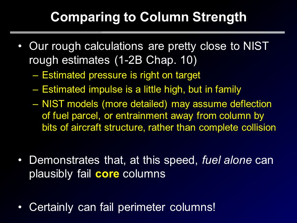 Comparing to Column Strength Our rough calculations are pretty close to NIST rough estimates (1-2B Chap.