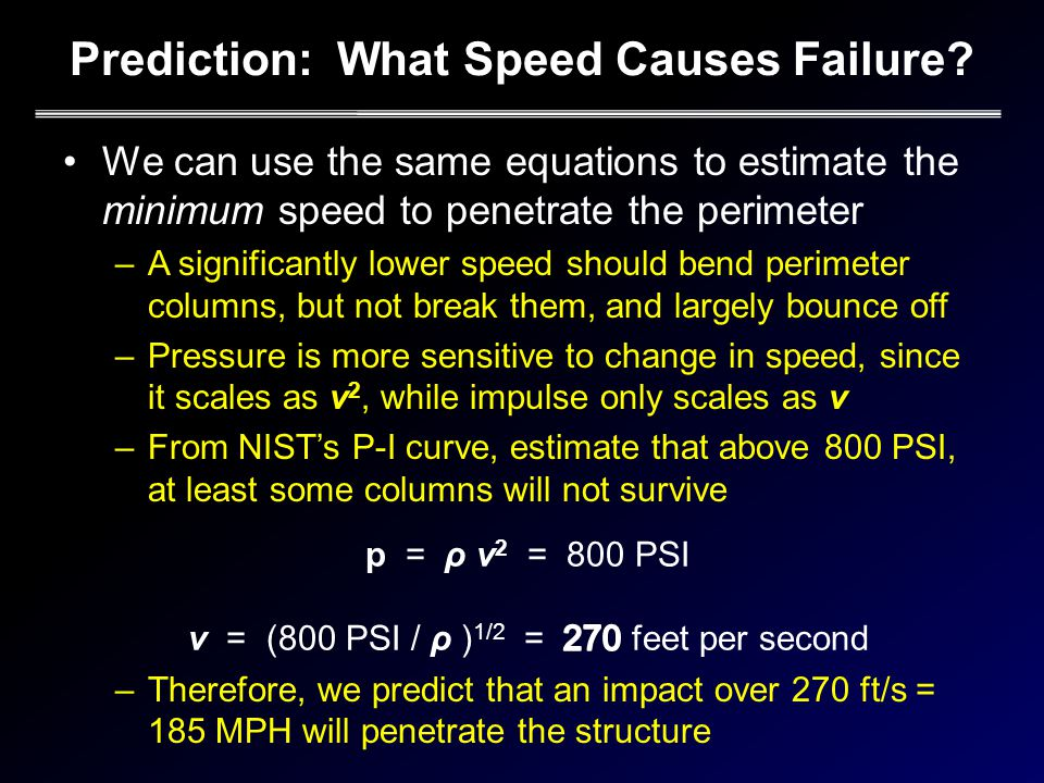 Prediction: What Speed Causes Failure.