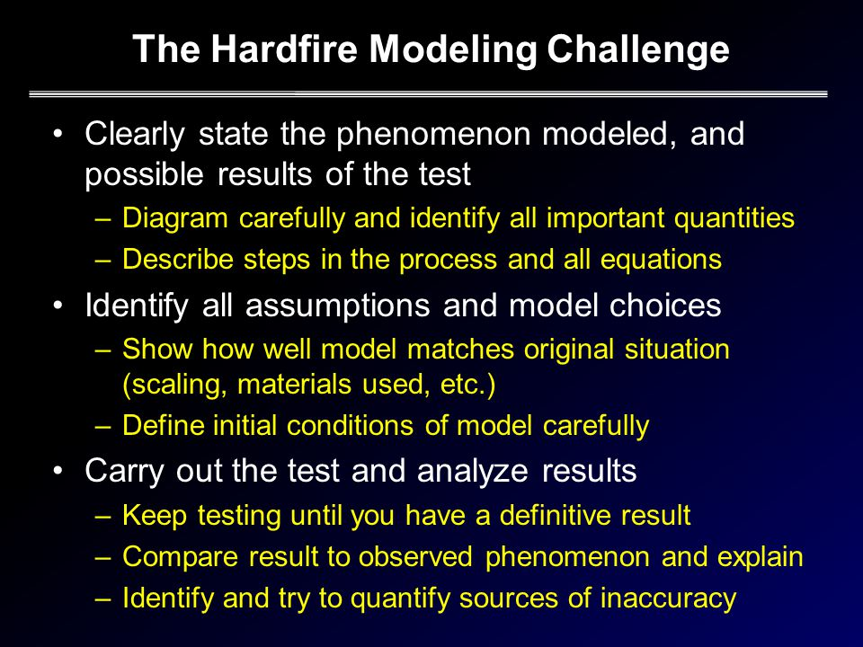 Clearly state the phenomenon modeled, and possible results of the test –Diagram carefully and identify all important quantities –Describe steps in the process and all equations Identify all assumptions and model choices –Show how well model matches original situation (scaling, materials used, etc.) –Define initial conditions of model carefully Carry out the test and analyze results –Keep testing until you have a definitive result –Compare result to observed phenomenon and explain –Identify and try to quantify sources of inaccuracy
