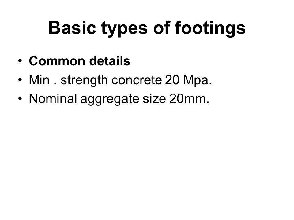 Basic types of footings Common details Min. strength concrete 20 Mpa. Nominal aggregate size 20mm.