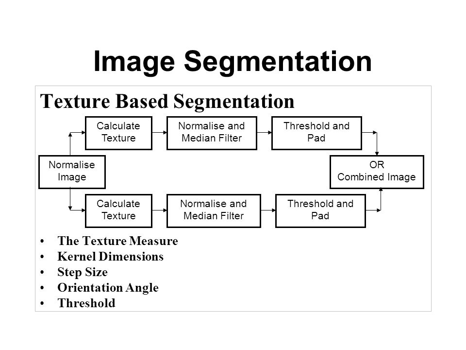 Image Segmentation Texture Based Segmentation The Texture Measure Kernel Dimensions Step Size Orientation Angle Threshold Normalise Image Calculate Texture Normalise and Median Filter Threshold and Pad OR Combined Image