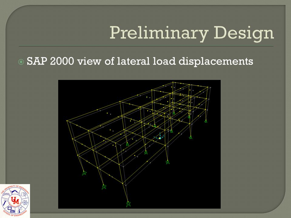 Preliminary Design SAP 2000 view of lateral load displacements
